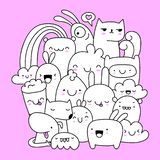 Cute kawaii style doodle creatures. Cute and happy kawaii style doodle creatures vector illustration
