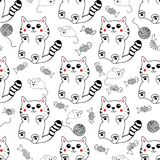 Cute kawaii style  hand drawn  kittens seamless pattern background. vector illustration