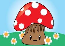 Cute Kawaii style mushroom Stock Image