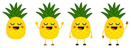 Cute kawaii style Pineapple fruit icon, eyes closed, smiling with open mouth. Version with hands raised, down and waving.  stock illustration