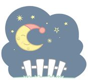 Cute Kawaii Style Sleeping Crescent Moon With Blue Night Cap Stars and White Picket Fence Night Scene Vector Illustration Isolated. On white. All elements are stock illustration