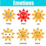 Cute kawaii sun character. Vector emoji, emoticons, expression icons. Isolated design elements, stickers. Educational infographic Royalty Free Stock Image