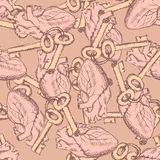 Cute  keys and hearts seamless pattern Stock Image