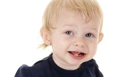 Cute Kid 1. A cute one-year old boy with strawberry blond hair and two front teeth royalty free stock images