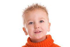 Cute kid. With spiky hair on white background Royalty Free Stock Photos