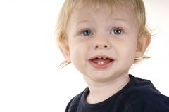 Cute Kid 5. A cute blond infant boy in a blue top on a white background Royalty Free Stock Photo