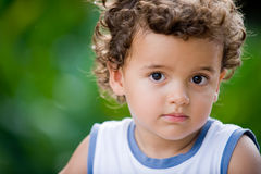 Cute Kid. A cute young boy with curly hair in a natural setting royalty free stock photography