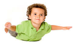 Cute Kid. A cute young boy on white background royalty free stock photography