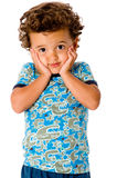 Cute Kid. A cute young boy on white background stock photos