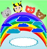 Cute kid and animals viewing rainbow Royalty Free Stock Photos