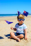 Cute kid on Australia day stock images