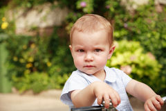 Cute kid with bike Royalty Free Stock Photo
