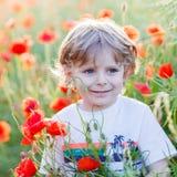 Cute kid boy with poppy flower on poppy field on warm summer day Stock Photos
