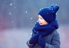 Cute kid, boy in winter clothes playing under the snow Royalty Free Stock Images