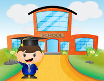 Cute kid cartoon wearing graduation hat Stock Image