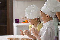 Cute Kid Chefs Baking for Pizza Royalty Free Stock Image