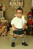 A cute kid of china. With glasses Stock Photo