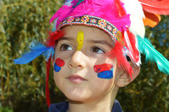 Cute kid dressed as Injun Stock Images