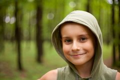 Cute kid in the forest Royalty Free Stock Photography