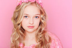 Cute kid girl on pink Stock Photography