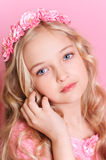 Cute kid girl on pink Royalty Free Stock Image