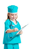 Cute kid girl uniformed as doctor over white Stock Photos