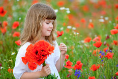 Cute kid girl with wild flowers at the summer field. The Cute kid girl with wild flowers at the summer field Stock Images