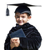 Cute kid graduate with graduation cap Royalty Free Stock Photo