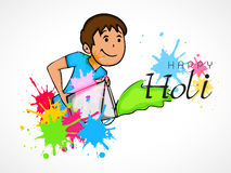 Cute kid for Happy Holi festival celebration. Royalty Free Stock Images