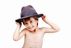 Cute kid with hat. Boy with wheat hat on head Royalty Free Stock Images