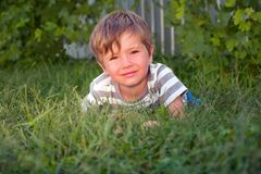 Cute kid having outside activities. Child on the grass. royalty free stock photography