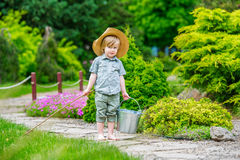 Cute kid on his way fishing Stock Photography