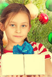 Cute kid holding a box Royalty Free Stock Image