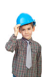 Cute kid holding helmet stock image