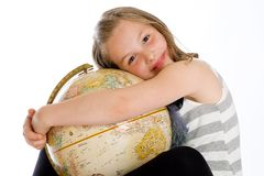 Cute kid hugging a globe Royalty Free Stock Image