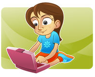 Cute kid internet blogging. Happy cute girl operating a notebook Royalty Free Stock Image