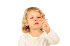Cute kid learning to put the years he has with his hand Royalty Free Stock Photography