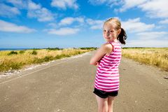 Cute kid looking back Stock Photo