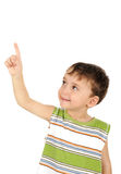 Cute kid looking and finger pointing Stock Photography