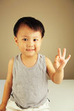 Cute kid looking at viewer. Cute child looking at viewer with a smile and holding up his fingers with the okay sign stock image