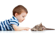 Cute kid lying on floor and playing with cat pet Royalty Free Stock Images