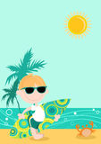 Surfer Boy Cartoon Royalty Free Stock Photo