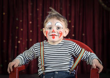 Cute Kid with Mime Makeup for Stage Play Stock Photo