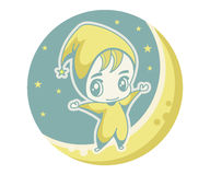 Cute kid on the moon Royalty Free Stock Photography