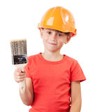 Cute kid with a paint brush Royalty Free Stock Image