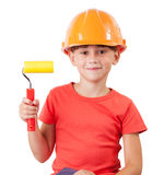Cute kid with a paint roller Stock Image