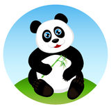 Cute kid panda eating bamboo Stock Images