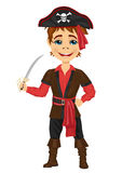 Cute kid in pirate costume holding a sword Stock Images