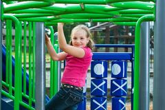 Cute kid playing during recess Stock Photography