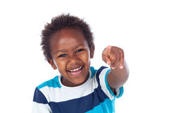 Cute kid pointing with his finger at camera Royalty Free Stock Photo